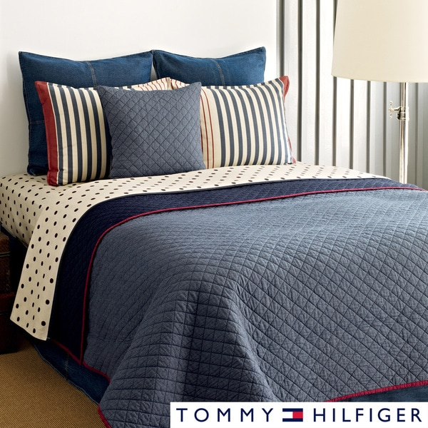 Tommy Hilfiger Chambray 3 Piece Cotton Reversible Quilt