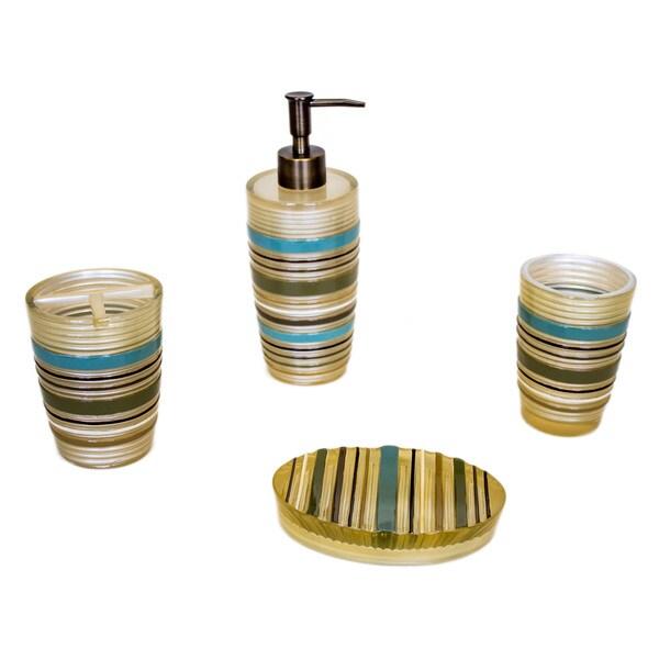Crown Jewel Bath Set 12 Bath Towels 12 Hand Towels 12: Sherry Kline 'Elegy' Striped Bath Accessory 4-piece Set
