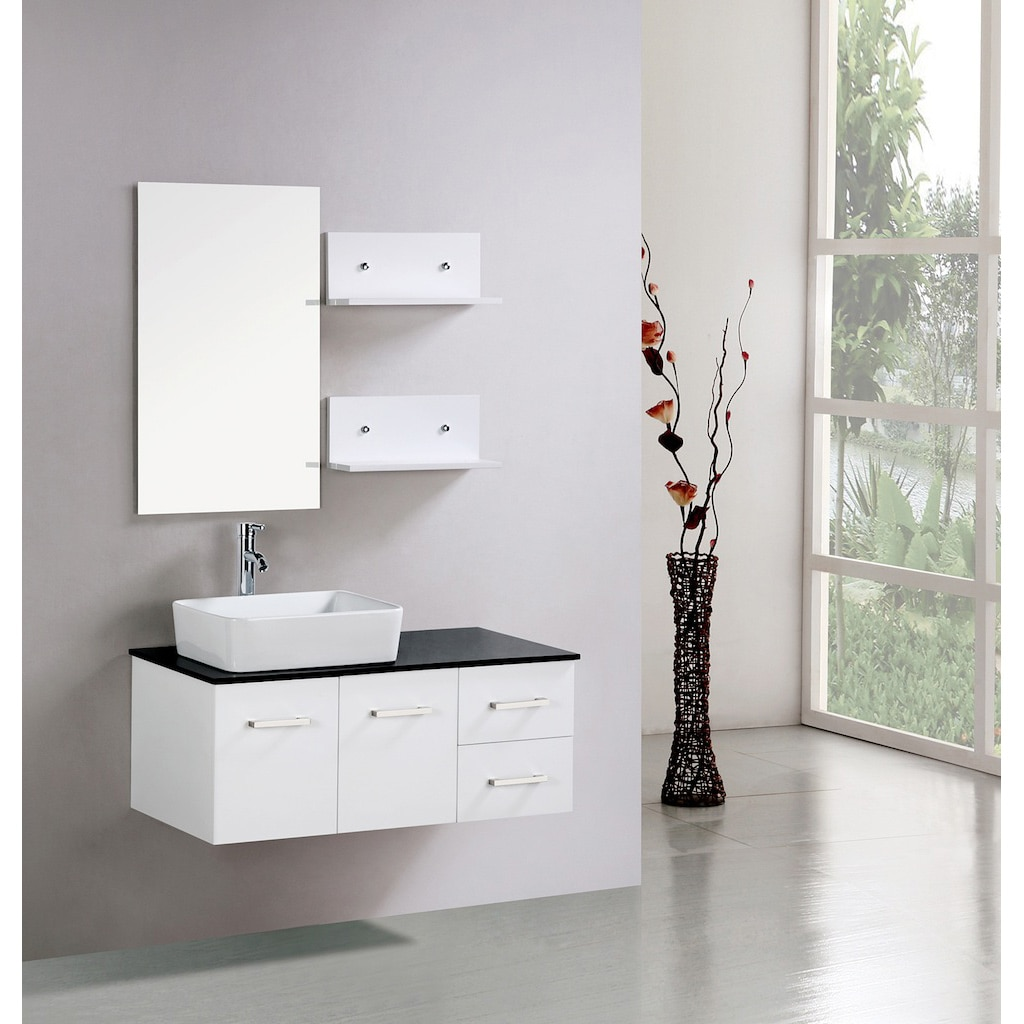 Kokols floating 36 inch white cabinet wall mount bathroom - Wall mounted bathroom storage units ...
