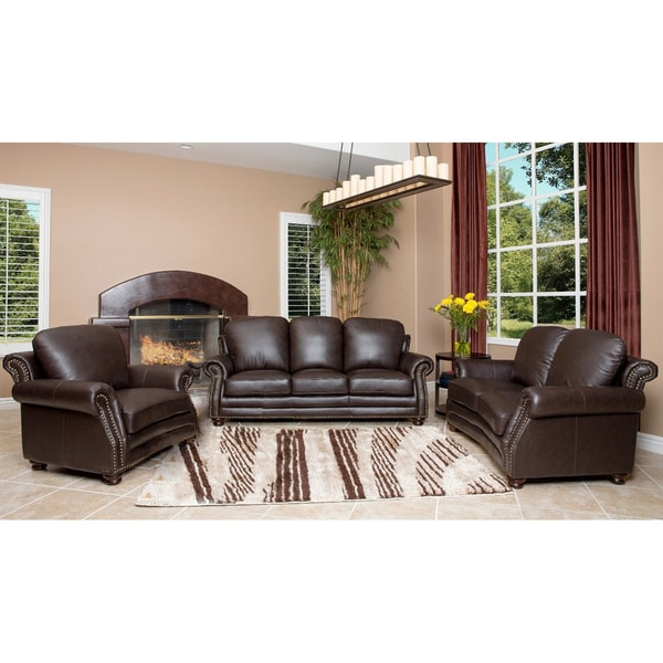 Shop For Living Room Furniture: Abbyson Living Maxwell Top Grain Leather Sofa, Loveseat