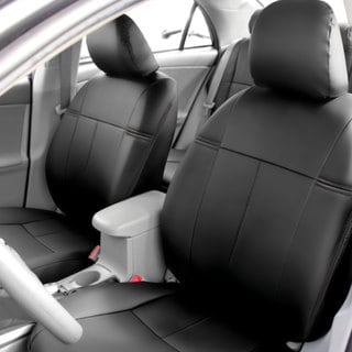 fit black leatherette 2009 2011 toyota corolla seat covers front set. Black Bedroom Furniture Sets. Home Design Ideas