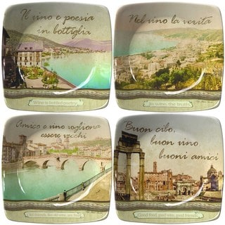 Italian Inspirations Collection Porcelain Appetizer Plates Set Of 4