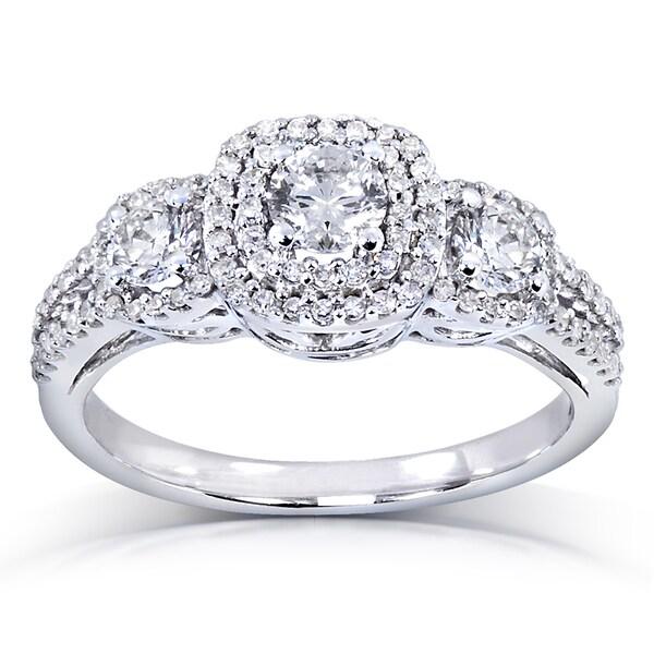 Annello 14k white gold 1 ct tdw three stone diamond cluster engagement ring h i i1 i2 9974b489 ecde 4790 9fcc e950886c02c8 600