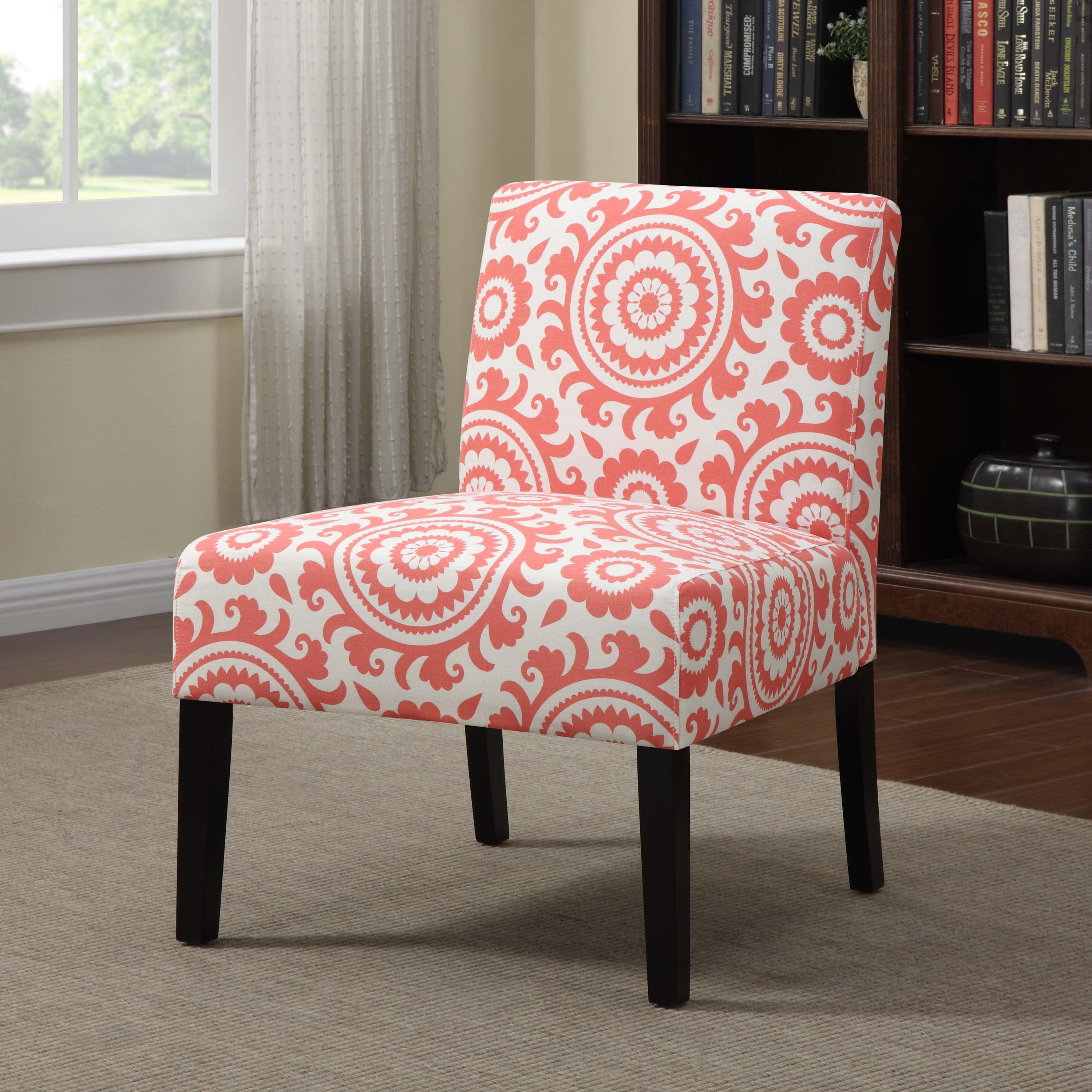 Coral Reef Motic Accent Chair: Portfolio Niles Pink Coral Medallion Armless Accent Chair