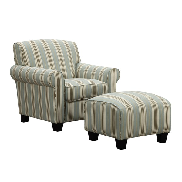 Portfolio Mira Summer Aqua Blue Stripe Arm Chair And