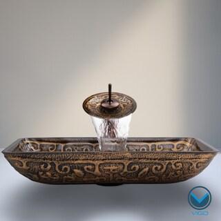 Vigo Rectangular Golden Greek Glass Vessel Sink Waterfall