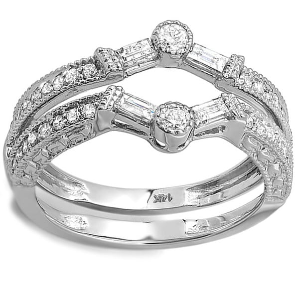 14k White Gold 1/2ct TDW Diamond Engagement Ring Enhancer