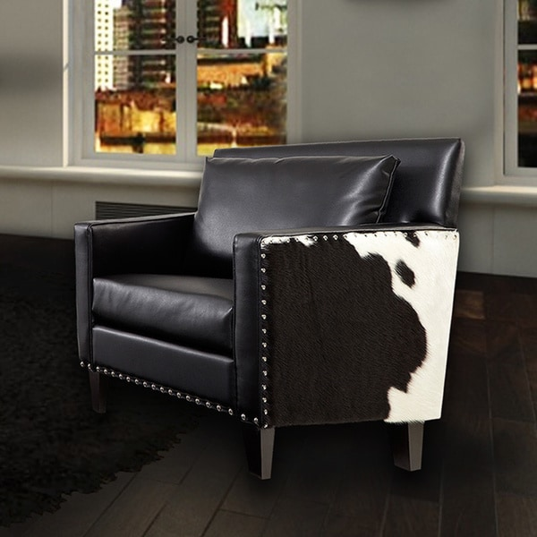 Dallas Chair Black Leathr Real Cowhide Side Panels