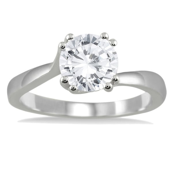 Marquee Jewels 14k White Gold 1ct TDW Diamond Solitaire Engagement Ring