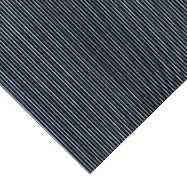 Rubber Cal Fine Rib 36 Inch Wide Black Rubber Flooring
