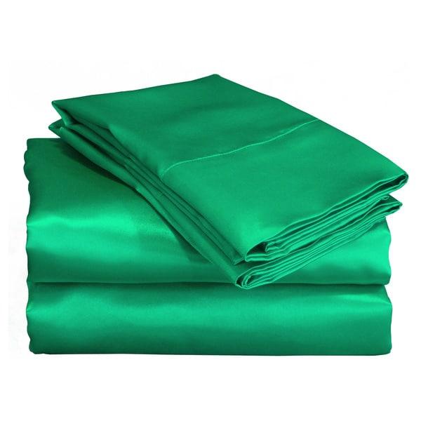 Charmeuse Ii Satin Emerald Green Sheet Set With Bonus