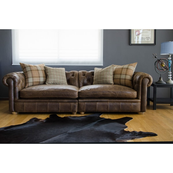 Franklin Leather Grand Sofa Overstock Shopping Great
