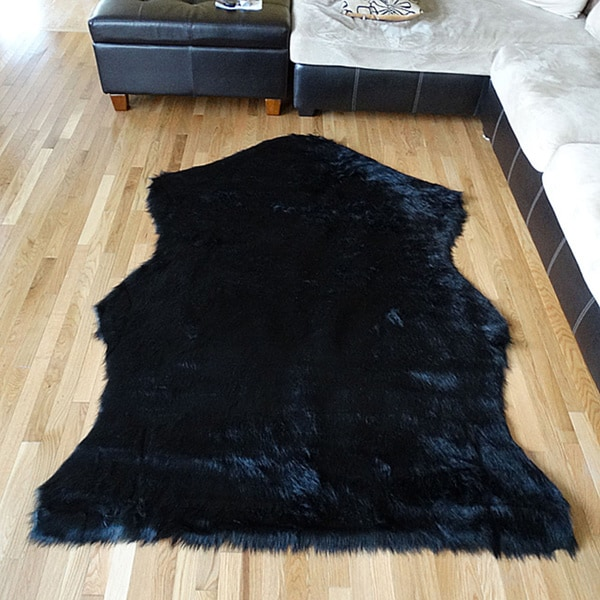 Black Bear Hide Acrylic Fur Rug 5 X7 15590883