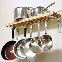 Cooks Standard Wall Mounted Wooden Pot Rack, 36 by 8-Inch