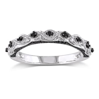 10k White Gold With Black Rhodium 1 8ct Tdw Black Diamond