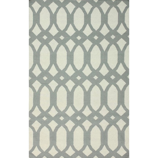 Nuloom Handmade Lattice Flatweave Kilim Light Grey Wool