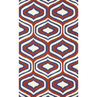 Nuloom Handmade Geometric Triangle Orange Rug 7 6 X 9 6