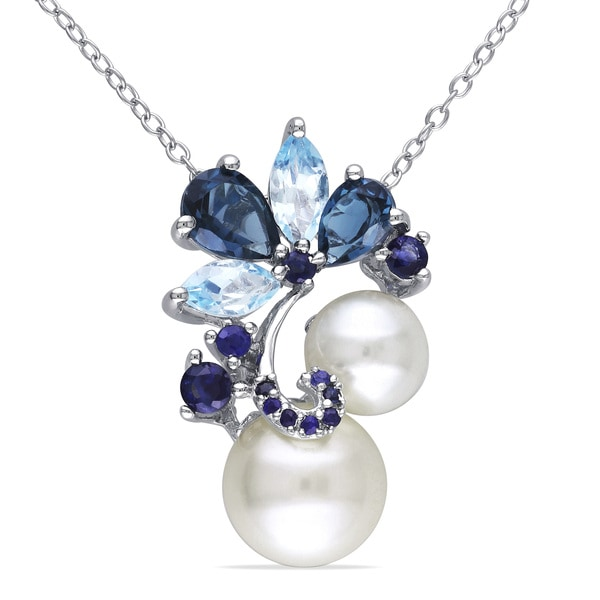 Blue Topaz And Pearl Necklace: Miadora Silver Cultured Freshwater Pearl, Marquise, Pear