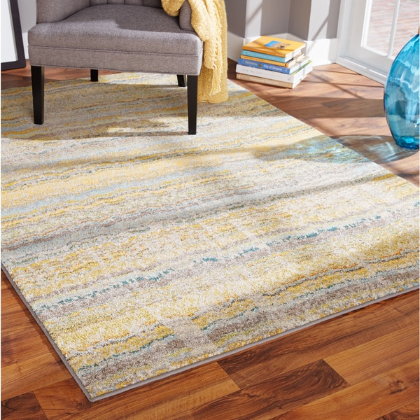 Distressed Ikat Yellow Grey Rug 5 3 X 7 6 15615812