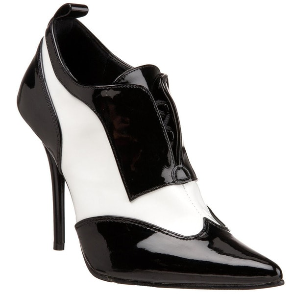 Womens Black And White Patent Leather Shoes