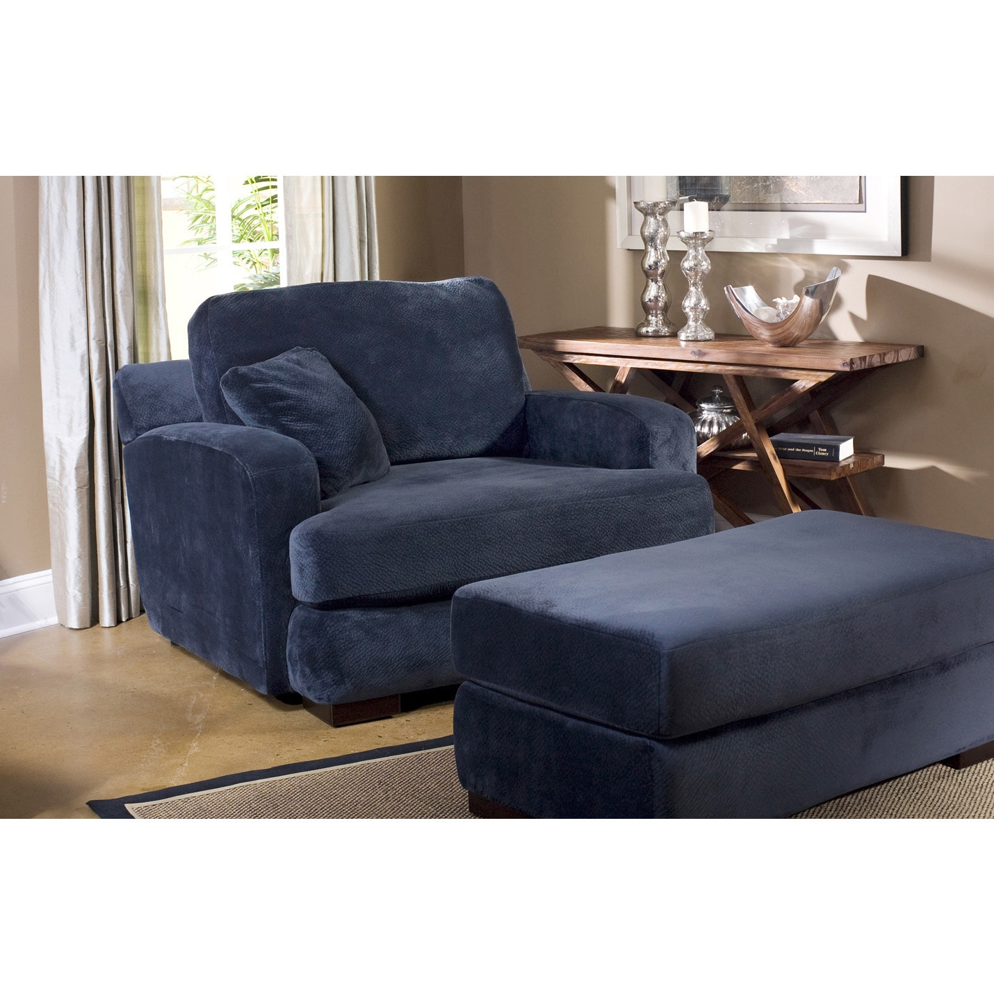 fairmont designs made to order melanie navy chair and ottoman set overstock shopping great. Black Bedroom Furniture Sets. Home Design Ideas
