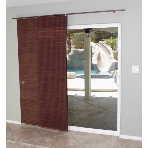 4 Panel Sliding Glass Door: Mahogany Flat Privacy Panel Track Sliding Shade
