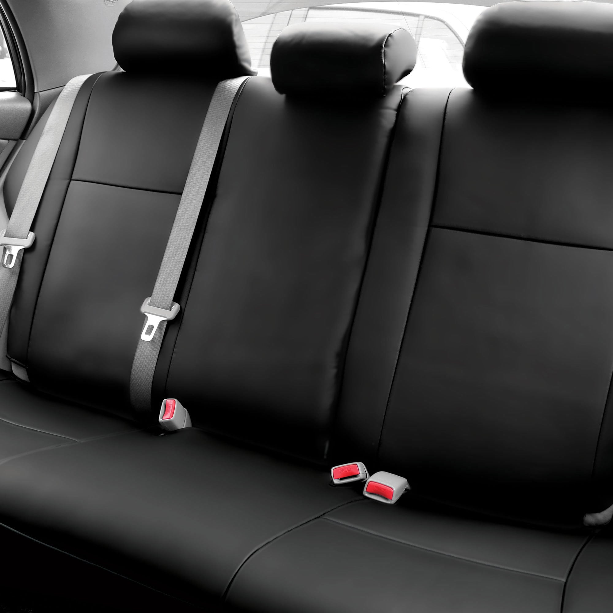 fh group custom fit black leatherette 2009 2011 toyota corolla seat covers rear set. Black Bedroom Furniture Sets. Home Design Ideas