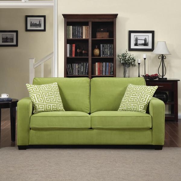 Portfolio Madi Spring Green Velvet Sofa With Apple Green