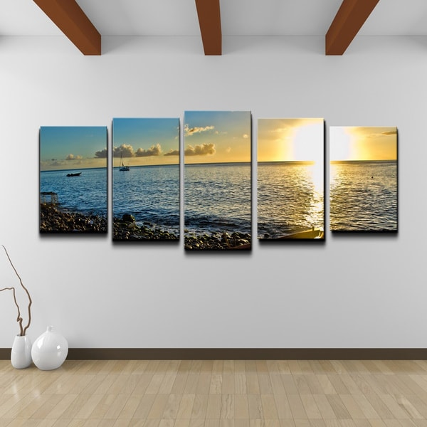 chris doherty 39 sunset i 39 5 piece canvas wall art set 15623497 shopping top. Black Bedroom Furniture Sets. Home Design Ideas