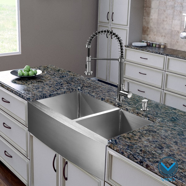 36 Kitchen Sink: Vigo All In One 36-inch Farmhouse Stainless Steel Double