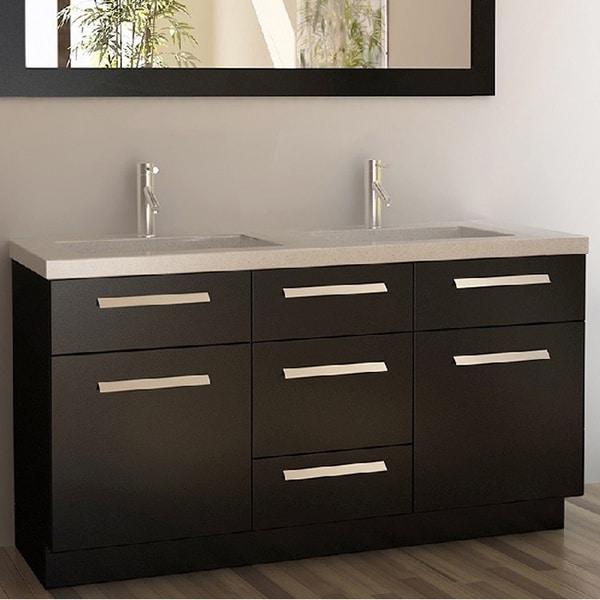 Design element moscony espresso 60 inch double sink vanity - 60 inch bathroom vanities double sink ...