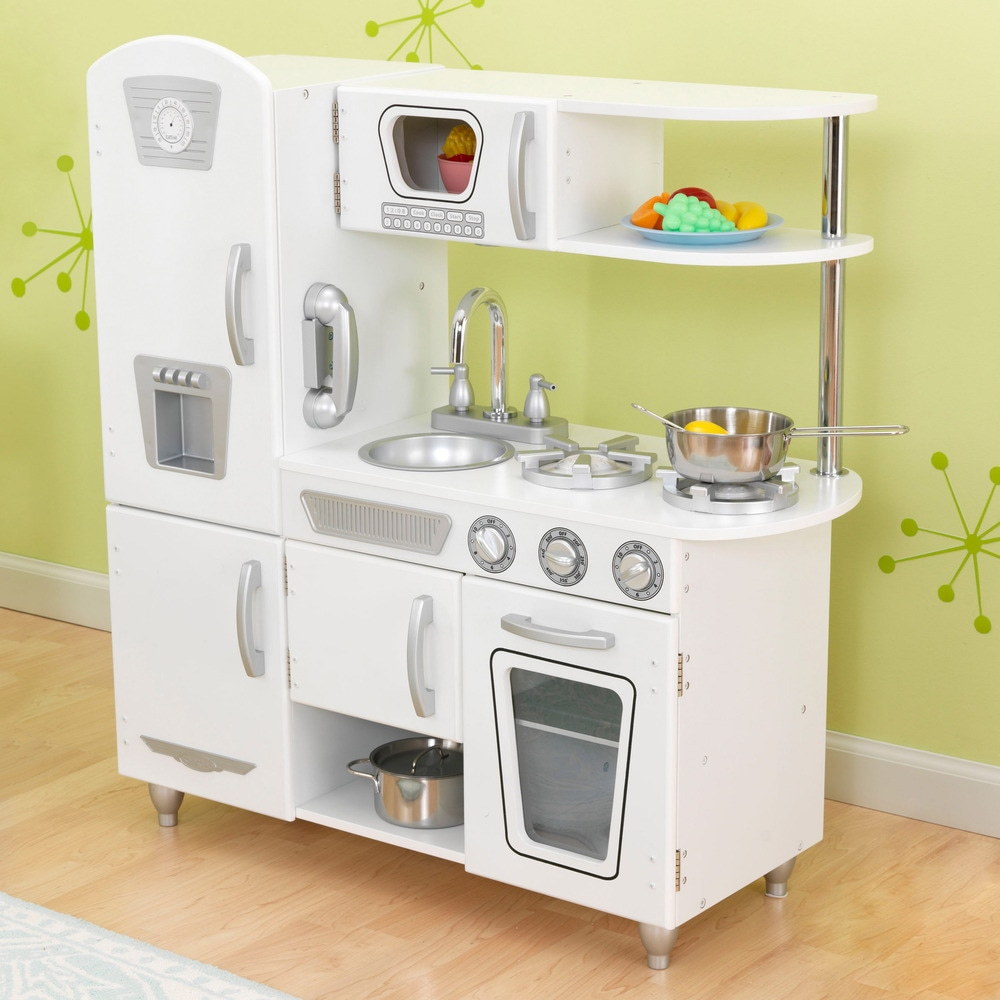 Children Kitchen Set: KidKraft White Vintage Uptown Retro Kitchen Playset For