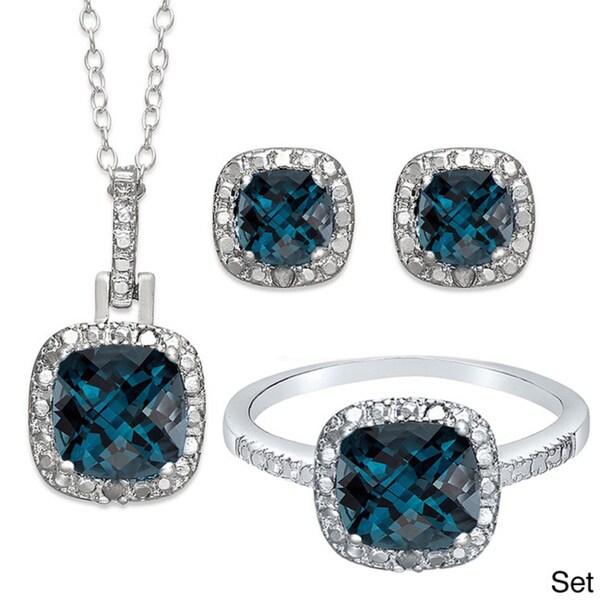 Dolce Giavonna Sterling Silver London Blue Topaz Earring