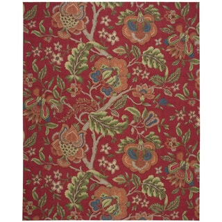 Hand Tufted Floral Pattern Red Blue Wool Area Rug 8 X