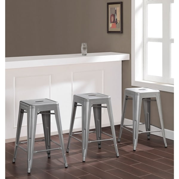 Counter Stools Overstock: Tabouret 24-inch Metal Counter Stools (Set Of 3