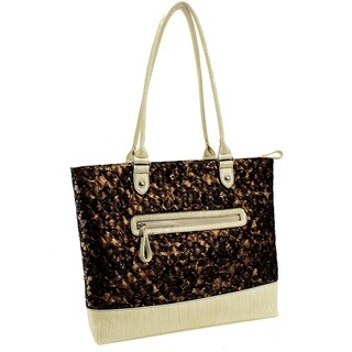 Parinda Allie Quilted Fabric with Croco Faux Leather Tote