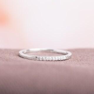 Miadora 10k White Gold Thin Stackable Diamond Band Ring