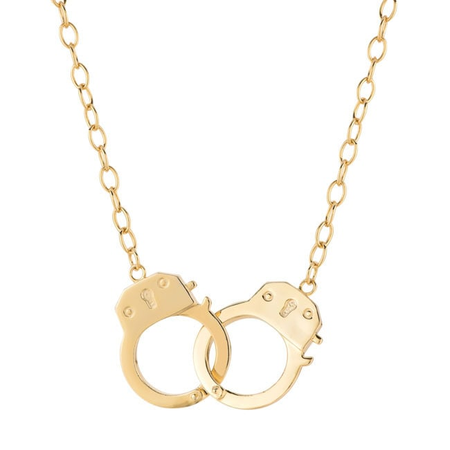 Handcuff Necklace Gold: Yellow Goldplated Sterling Silver Handcuffs Necklace