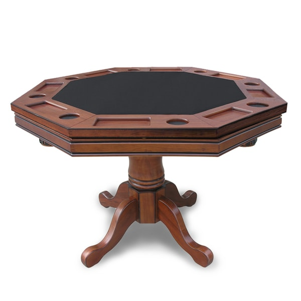 Game Table And Chairs Set Kingston Walnut 3-in-1 Poker Table - 15657484 - Overstock ...