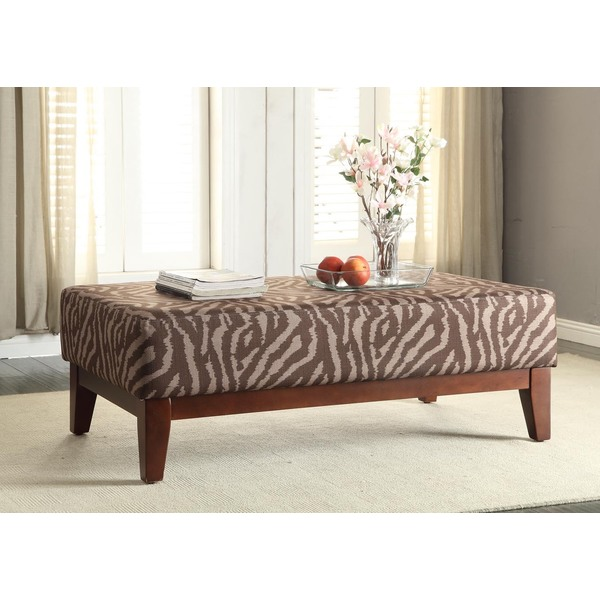 Homepop Large Brown Tonal Animal Print Cocktail Bench