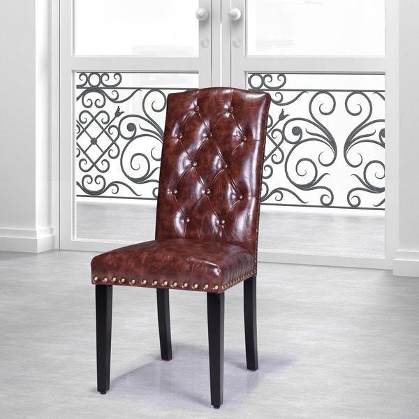 Luxury Comfort Collection Brown Faux Leather Tufted Parson
