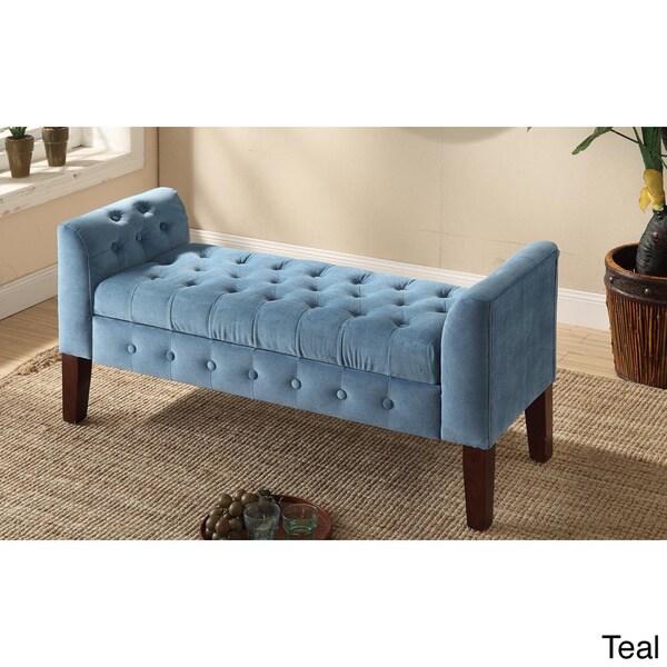 Homepop Velvet Tufted Storage Bench Settee 15662419