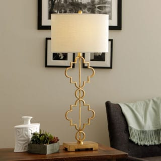 Moroccan 1 Light Antique Gold Leaf Table Lamp