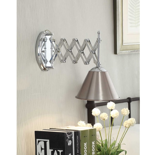 Accordion Swing Arm 1 Light Brushed Nickel Wall Lamp