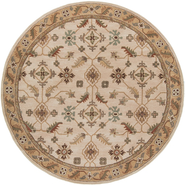 Copper Grove Kavir Hand-tufted Beige Wool Classic Floral Area Rug (6' Round)