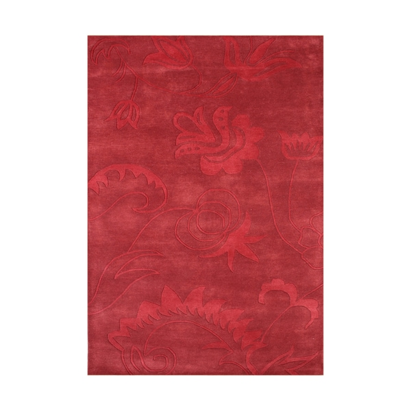 Alliyah Handmade Mars Red New Zealand Blend Wool Rug 8 X
