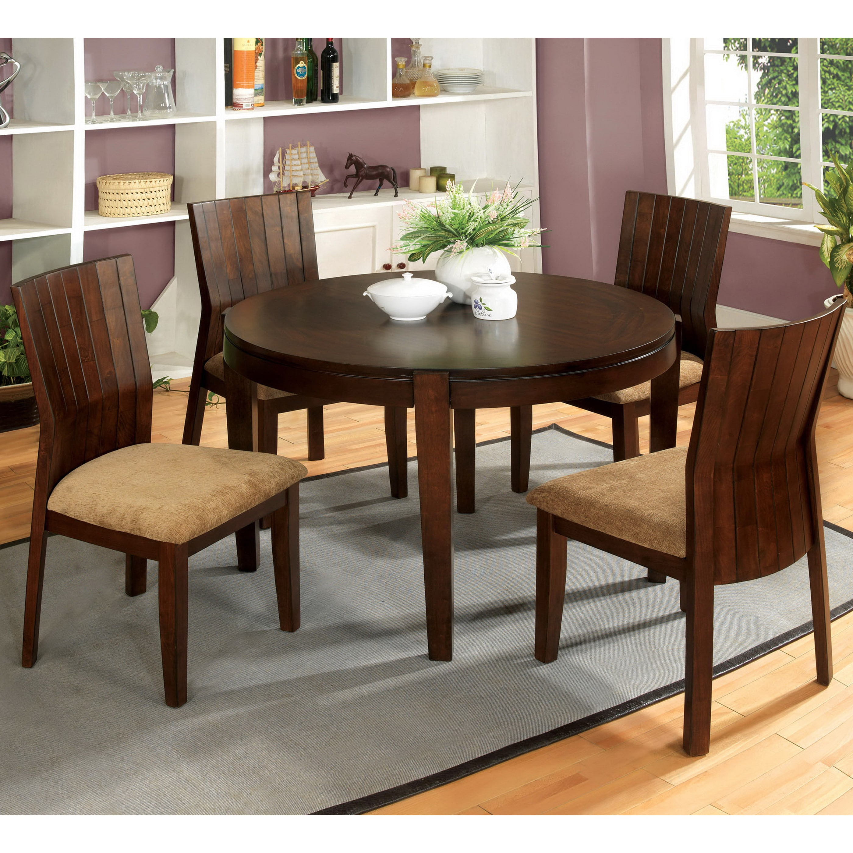 Overstock Dining Set: Furniture Of America Dustin Round 42-inch Walnut 5-piece