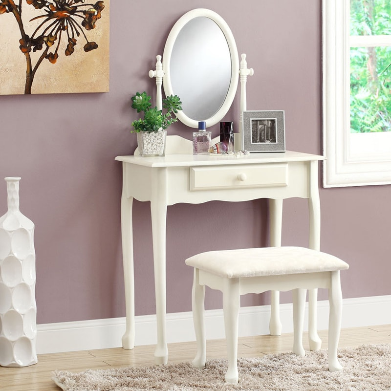 Antique White Vanity Set With Stool On Popscreen