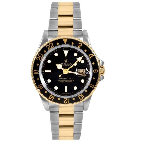 pre owned rolex mens gmt 2 18 karat yellow gold accented. Black Bedroom Furniture Sets. Home Design Ideas