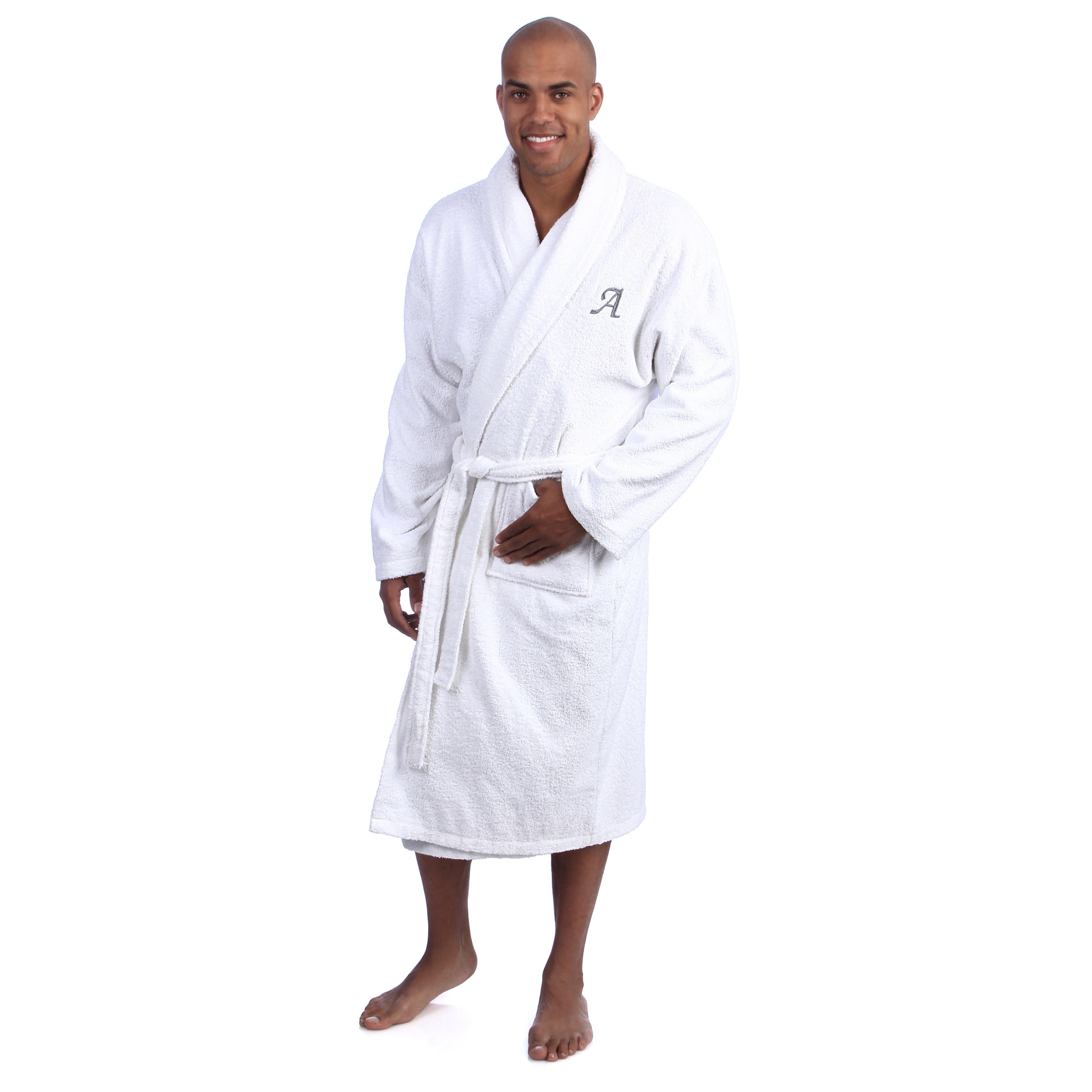 a983b2a966 Authentic Hotel And Spa Grey Monogrammed Turkish Cotton Unisex Terry Bath  Robe (White with charcoal